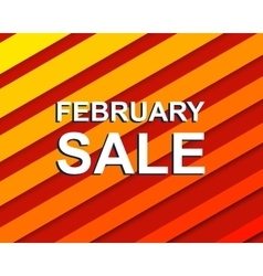 Red striped sale poster with FEBRUARY SALE text vector