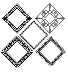 rhombus greek key meander border frame patterns vector image