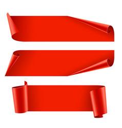 Ribbons set realistic red glossy paper ribbon vector