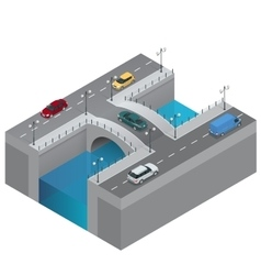 Road and bridge over the river City traffic vector image