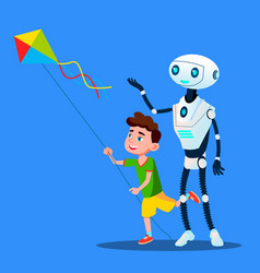 robot with child fly a kite isolated vector image