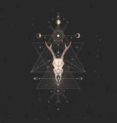 Roe deer skull and sacred geometric symbol vector