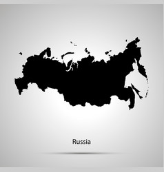 russia country map simple black silhouette on vector image