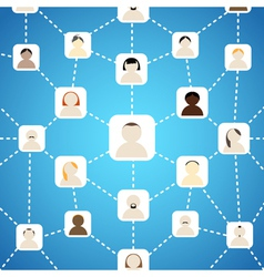 Scheme of social network on blue vector image
