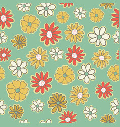 seamless pattern with flowers of doodles vector image