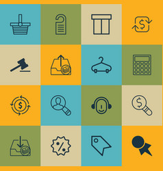 set of 16 e-commerce icons includes recurring vector image
