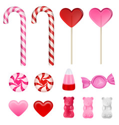 set valentines day candies on white background vector image