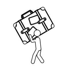 silhouette worker holding up travel luggage vector image