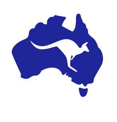 Silplified australia map with kangaroo silhouette vector