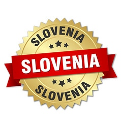 Slovenia round golden badge with red ribbon vector
