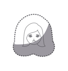 Sticker silhouette cartoon human female sad face vector
