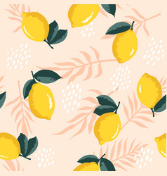 Summer pattern with lemons flowers and leaves vector