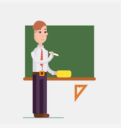 teacher standing in front of blackboard holding vector image