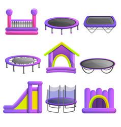 trampoline icon set cartoon style vector image