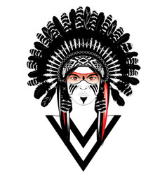 tribal man in war bonnet vector image