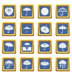 umbrella icons set blue square vector image