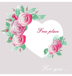 vignette heart flowers vector image