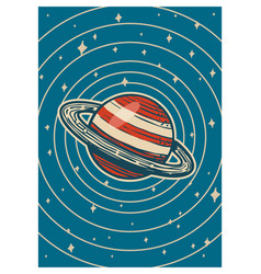 vintage space banner galaxy poster in retro style vector image