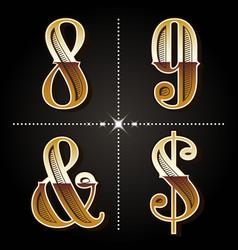 Western gradient alphabet letters vintage numbers vector