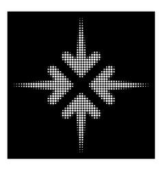 White halftone impact arrows icon vector