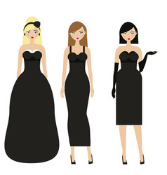 women in black dresses female night evening vector image