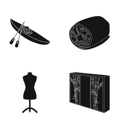 Wood furniture sport and other web icon in black vector