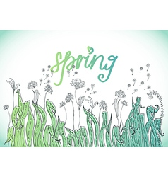 doodle tender Nature background with grass and vector image vector image