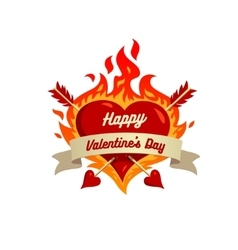 heart on fire isolated on White background vector image