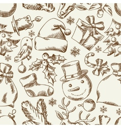 Merry Christmas hand drawn seamless pattern design vector image