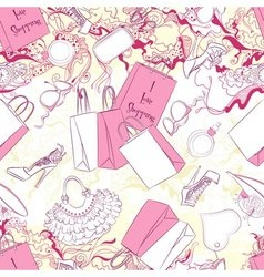 Seamless pattern with women fashion accessories vector image