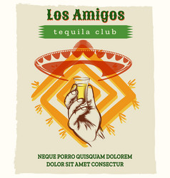 vintage tequila poster with sombrero hat vector image vector image