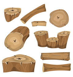 wood logs trunks and planks set vector image