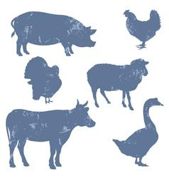 Farm animals silhouettes vector