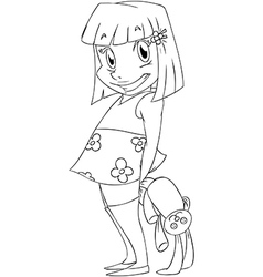 Little Girl With Rabbit Doll Coloring Page vector image vector image