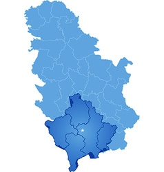 Map of Serbia Autonomous Province of Kosovo and vector image vector image