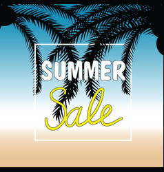 summer sale with palm in color design vector image