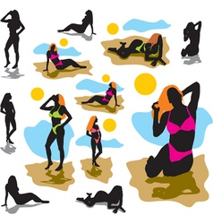 women on the beach vector image vector image