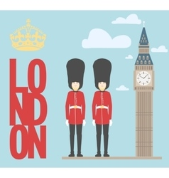 Big Ben Tower and guardians on vector image