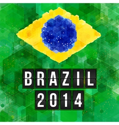 Brazil 2014 football poster Hexagon background vector image