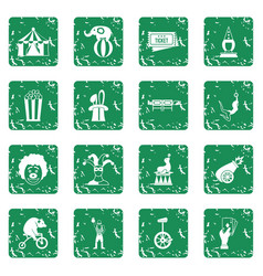 circus entertainment icons set grunge vector image vector image