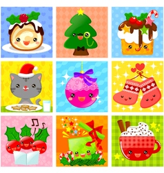 cute christmas collection vector image vector image