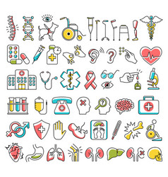 disability and medical icons signs isolated on vector image