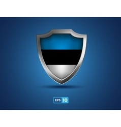 Estonia shield on the blue background vector