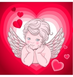 little angel with wings cupid heart vector image vector image