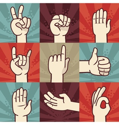 set of hands and gestures - in retro comic style vector image vector image