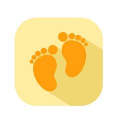 baby footprints flat color icon newborn baby vector image
