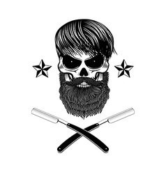bearded skull with blades vector image vector image