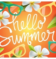 Hello summer background with tropical flowers vector image vector image