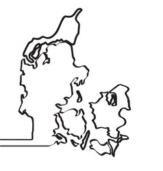 map of denmark continous line vector image