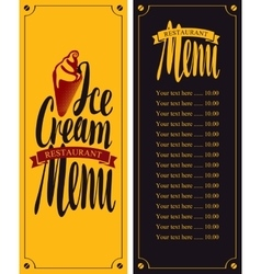 menu for cafe with ice cream vector image vector image